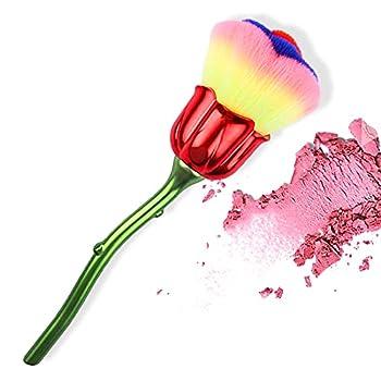SILPECWEE 1 Pcs Rose Shape Acrylic Nail Art Brush Set Manicure Brush Clean Up Professional Nail Brush Remove Dust Powder Make Up Brush Tools