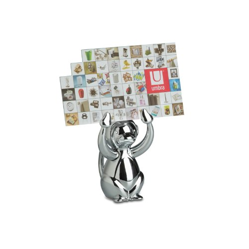 Dapo Lustiger Kartenhalter Memohalter Fotohalter AFFE, Metall Chrom, Maße: B4 x H6 x T5 cm, Tisch-Regal-Fenster-Schrank-Dekoration-Geschenk