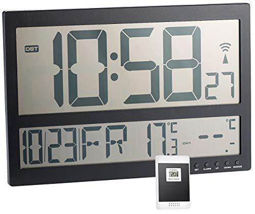 infactory Jumbo Uhr: Digitale Funk-Wanduhr mit Jumbo-LCD-Display und Außensensor, 3 Kanäle (Funkwanduhr Digital Jumbo)