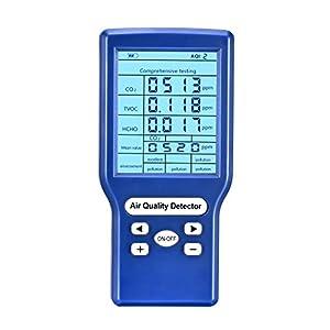 Kacsoo – Tester di qualità dell'aria, tester accurato per TVOC, HCHO, AQI, CO2 ppm, rilevatore di qualità dell'aria multifunzionale per casa, ufficio e varie occasioni ricaricabile