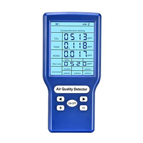Tester de dióxido de carbono,prueba de calidad de aire, medidor de CO2 para interiores, comprobador preciso para CO2 formaldehído TVOC ppm Meter Mini detector de dióxido de carbono analizador de gas