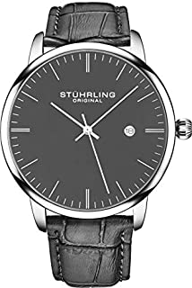 Stuhrling Original Mens Watch Calfskin Leather Strap - Dress + Casual Design - Analog Watch Dial with Date, 3997Z Watches for Men Collection