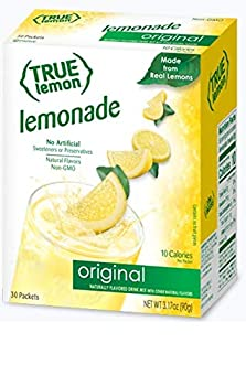 TRUE LEMON Original Lemonade Drink Mix  30 Packets  | Made from Real Lemon | No Preservatives No Artificial Sweeteners Gluten Free | Water Flavor Packets & Water Enhancer with Stevia