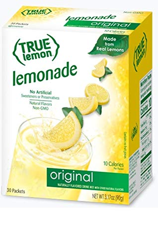 TRUE LEMON Original Lemonade Drink Mix (30 Packets) | Made from Real Lemon | No Preservatives, No Artificial Sweeteners, Gluten Free | Water Flavor Packets & Water Enhancer with Stevia