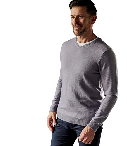 Wool Overs Mens Cashmere and Merino V Neck Knitted Sweater Pebble M