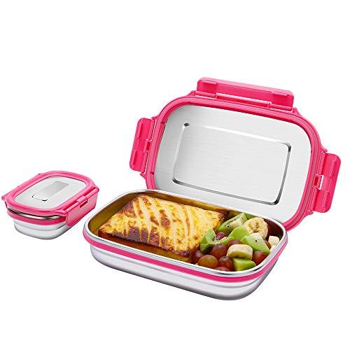G.a HOMEFAVOR Edelstahl Brotdose Kinder Eco Auslaufsichere Metall Lunchbox Erwachsene Vesperdose Edelstahl (180ML+950ML), Pink