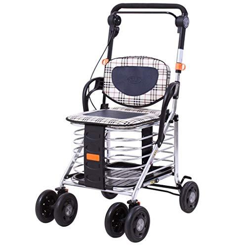 HSRG Leichtbau-Aluminium-Legierung Foldable Portable Portable Trolley 4 Wheel Shopping Cart/Elderly Walker mit Doppelbremse