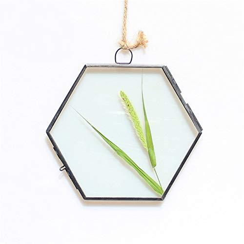 DIAZ Home Decor Gift Antique Hexagon Metal & Glass Picture Photo Frame Hanging Frame Black/Copper, Black, 8 5x8 5x10cm