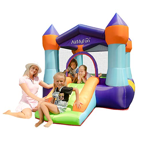 AirMyFun Inflatable Jumping Castle, Indoor Portable Bounce House with Air Blower, Bouncing Area with Mini Slide for Kids to Have Fun