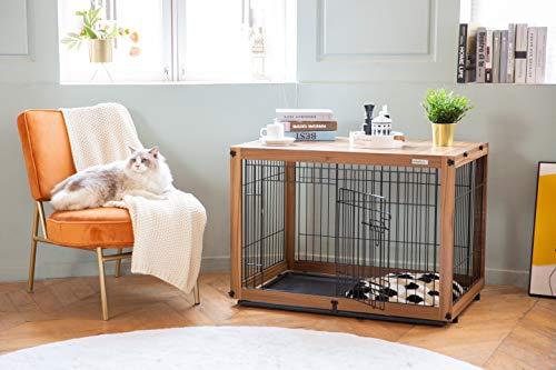 犬ケージ 木製ドッグサークル スライドトレイ 屋根付き トップカバー 屋内ペットクレート サイドテーブル SIMPLY + Wood & Wire Dog Crate