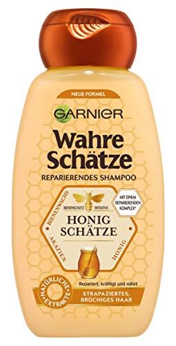 Garnier Wahre Schätze Honig Schätze Shampoo, Haarshampoo mit Propolis und Gelee Royal, für strapazierte Haare, 250ml