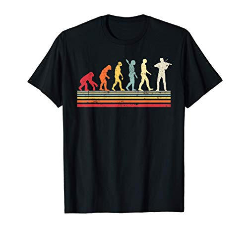 Divertido violín Evolution of Man Vintage Retro Women Gift Camiseta