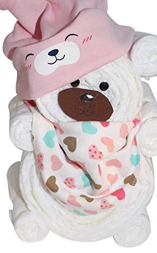 Windelgeschenk/Windeltorte/Windelbär mit Beanie + Dreieckstuch Mädchen Baby - Windelgeschenk Mädchen - tolles Geschenk zur Geburt (rosa Gr. 2)