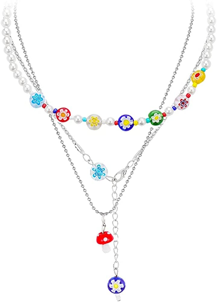 XIMEO Y2k Necklaces Boho Layered Chain Necklace Cherry Flower Mushroom Pendant Necklaces Set Y2K Aesthetic Necklace Summer Beach Jewelry for Women Girls