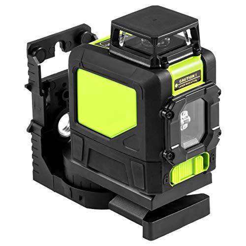 VEVOR HP-901CG Grün laser kreuzlinienlaser 5 Linienlaser 360 Rotationslaser Baulaser 3D Rotary Laser Level Rotationslaser selbstnivellierend set (Grün)