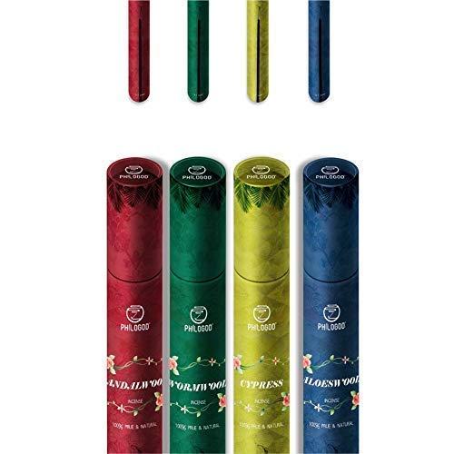 Aromatherapie Räucherstäbchen für Linderung von Stress, Migräne und Zen-Meditation, Räucherstäbchen-Brenner-Stütze inklusive, reine, pflanzliche tibetische Räucherstäbchen für die Homöopathie