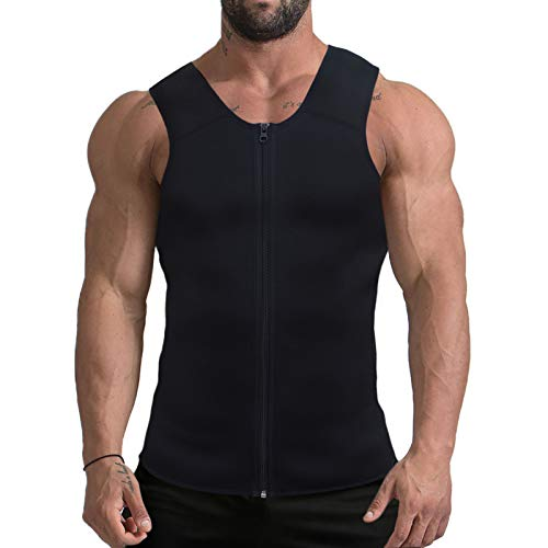Mpeter Men Waist Trainer, Slimming Body Shaper Sweat Vest, Sauna Suit Tank Top Shirt for Weight Loss