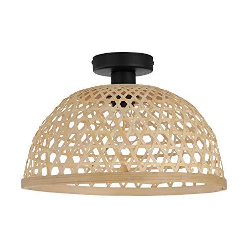 EGLO Deckenlampe Claverdon, 1 flammige Deckenleuchte Vintage, Natur, Boho, Hygge, Wohnzimmerlampe aus Stahl, Holz in schwarz, Naturfarben, Küchenlampe, Flurlampe Decke mit E27 Fassung