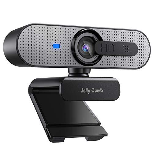 Jelly Comb 1080P HD Webcam mit Objektivdeckel, Streaming Webkamera mit Autofokus/Stereo Mikrofon für Computer, Skype, Video Chat und Aufnahme, Space Grau und Schwarz