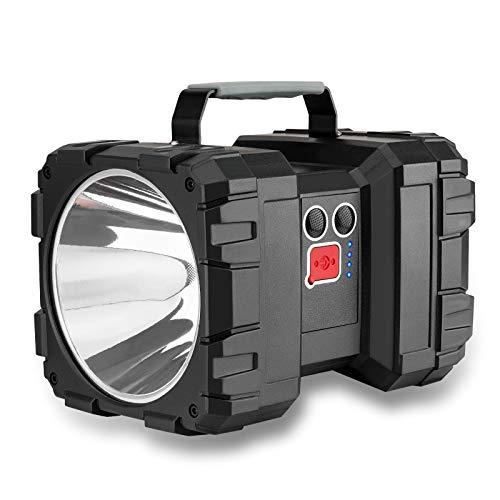 Lmaytech LED Rechargeable Flashlight, Double Head Spotlight Work Light with High Lumen 10000mAh Handheld Flashlight Flood Light with 3+4 Light Modes(Large)