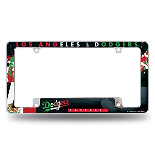 Rico Los Angeles LA Dodgers Chrome Metal License Plate Frame with Bold Full Frame Design