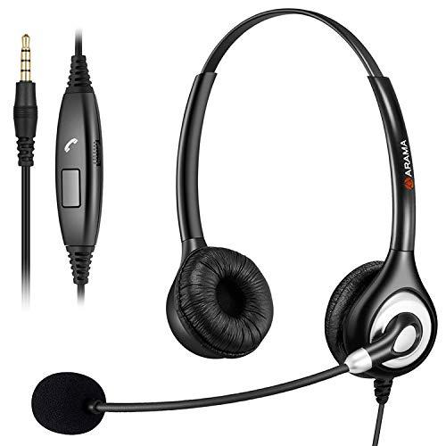 PC Headset, 3.5 klinke Headest Handy mit Mikrofon Noise Cancelling, PC Kopfhörer handy für Computer Laptop iPhone Samsung Skype Webinar Business office Call Center, Klare Chat, Ultra Komfort & Leicht