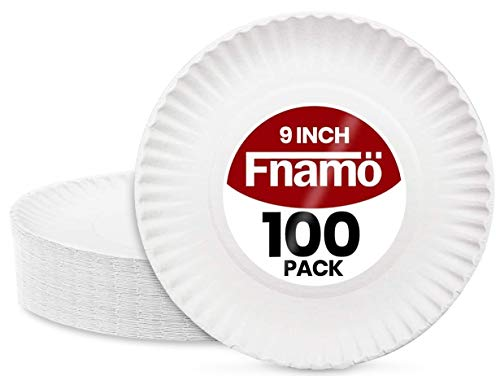 9 Inch Paper Plates By Fnamo Bulk Pack, 100 Count, 'Uncoated' White Dinner, Dessert and Appetizer Disposable Dinnerware, Sturdy Corrugated Edge for BBQ or Birthday Party Use