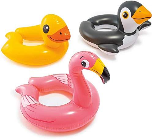 Intex, 43234-2327 3 Pack 59220EP - Animal Head Split Ring Pool Floats Bundle Includes Frog, Duck, Penguin, Giraffe, Frog, Penguin