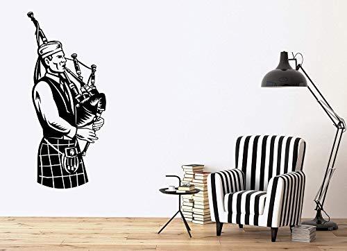 zqyjhkou Apliques de Vinilo de Pared Músico escocés Música Nacional Gaitas irlandesas Cartel Inicio Dormitorio Decoración de diseño de Arte 73.5x164.5cm