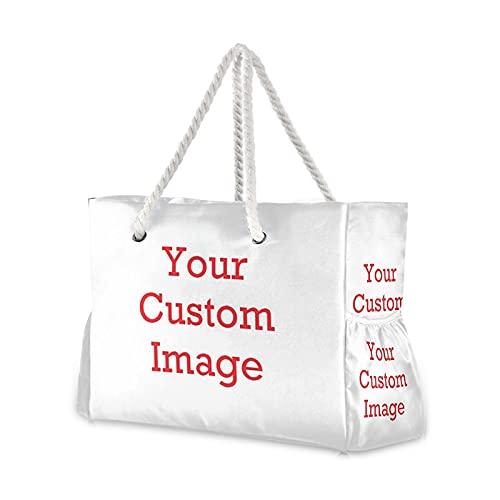 レディースサマーバッグ レディースショルダーバッグブルーオーシャンシェルビーチビーチプリントハンドバッグショッピングバッグリネンファブリック美しいカジュアルな実用的なハンドバッグ 休暇の必需品 (Color : Customized)