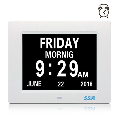 SSA Dementia Clock, 8' Day Clock Clear Large Non-Abbreviated Day & Month Wall hanging Desk/Shelf clock with Alarm Clock Digital Calendar