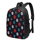 WEQDUJG Mochila Portatil 17 Pulgadas Mochila Hombre Mujer con Puerto USB, Puntos Blancos Azules Rojos en Azul Marino Mochila para El Laptop para Ordenador del Trabajo Viaje