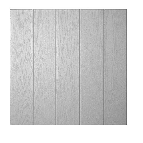 DECOSA Deckenplatten ATHEN in Holz Optik - 80 Platten = 20 m2 - Deckenpaneele in Lichtgrau - Decken Paneele aus Styropor - 50 x 50 cm