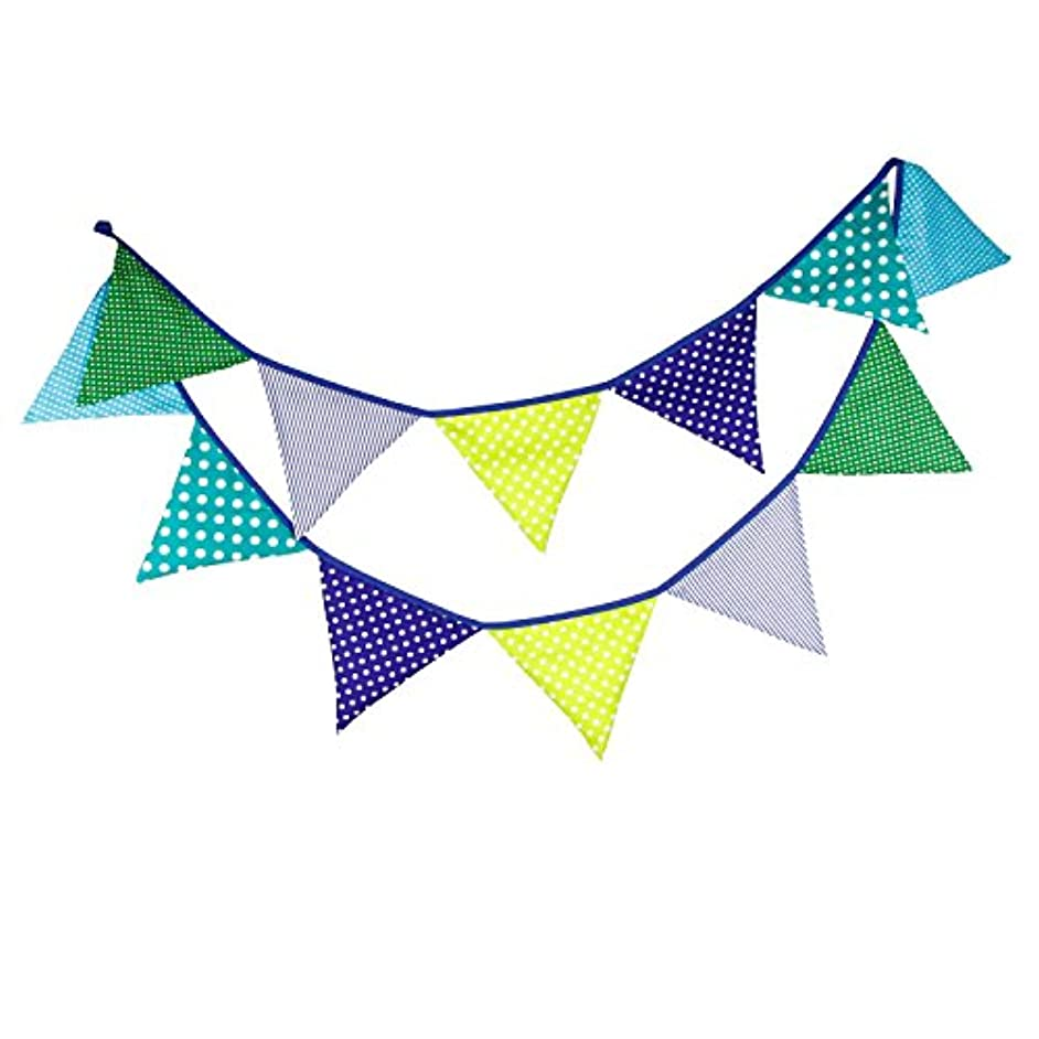 INFEI 3.2M/10.5Ft Country Floral Fabric Flags Bunting Banner Garlands for Wedding, Birthday Party, Outdoor & Home Decoration (Blue & Green)