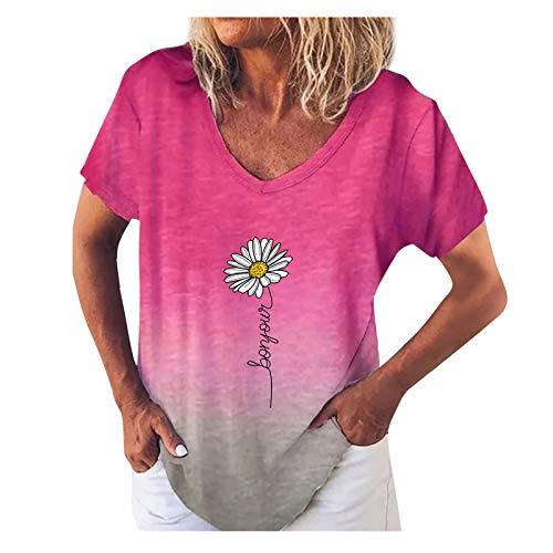 Xmiral T-Shirt Donna Stampa Sfumata Moda Manica Corta Scollo a V Piccolo crisantemo ( L,2Rosso )