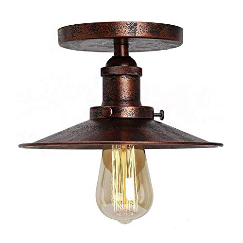 Vintage Ombrello Plafoniera Paralume Retro Industriale Metal Copperhead Dome Soffitto Light Loft Corridoio Illuminazione E27 Barn Light (Ruggine)