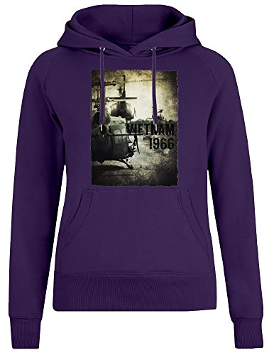 Vietnam Hubschrauber - Vietnam Helicopter Jacket Jumper Pullover with Hoodie for Women - 100% Soft Cotton DTG Printing Womens Clothing Large