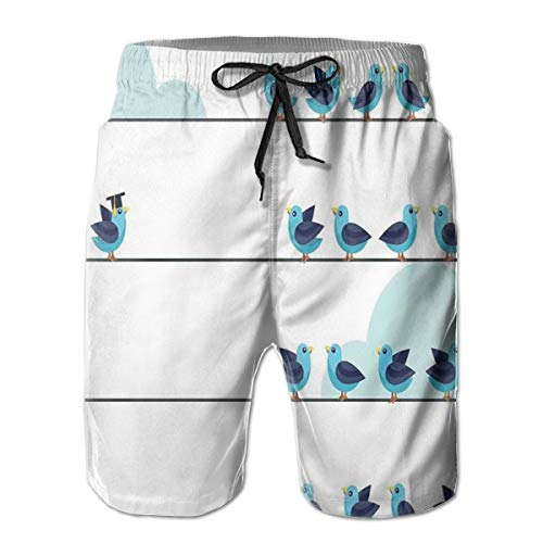 DHNKW Herren Badehose Boardshorts Strandhose Surfing Boardshorts,Independent Thinker and Individual Leadership Concept Pigeons Graduation,Fancy Print Hawaiian Shorts Four Size,XL
