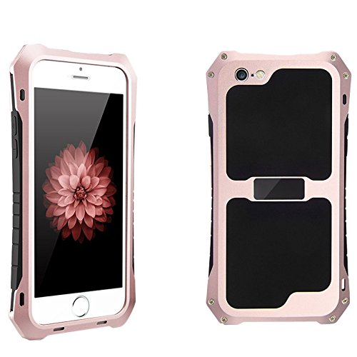 2016 NEW R-just Aluminum Metal Waterproof Shockproof Dust Case Gorilla Glass Silicon Rubber Metal Frame Bumper Military Heavy Duty Premium Protection Armor For iPhone 6 plus/6s plus - Gold Roses