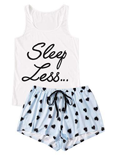 Floerns Women's Cute Sleeveless Tank Top and Shorts Sleepwear Pajama Set White Blue XL