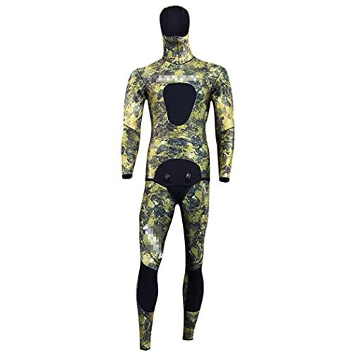 LIOPJH Traje de pesca submarina para hombre, traje de buceo de 3,5 mm, traje de neopreno de camuflaje de buceo