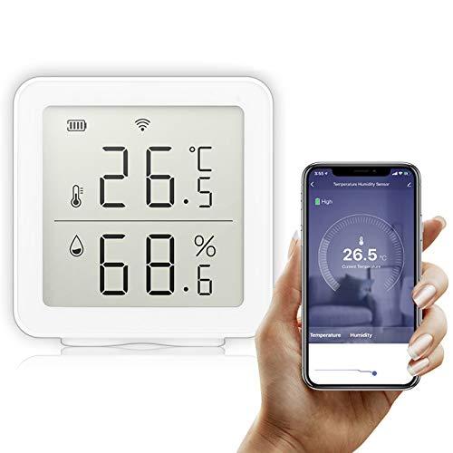 Galapara Thermometer Hygrometer, Tuya WiFi Intelligent Home Drahtloser Temperatursensor Hausautomations-Szenensystem Kompatibel mit Alexa