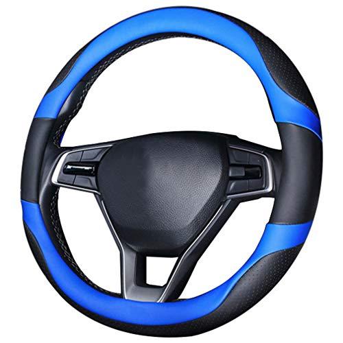 Pahajim Funda de Piel Sintética para Volante de Coche 38cm, Antideslizante Transpirable Suave Coche Universal Protector de Accesorios Interiores para Auto Van Truck SUV (Negro-azul)