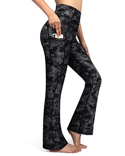 OMANTIC Pantalones de yoga de cintura alta con bolsillo para control de barriga, pantalones de entrenamiento para mujer, pantalones de vestir de pierna ancha, Camuflaje gris, XXL