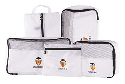 Valencia Club de Fútbol Organizador de Equipaje - Producto Oficial del Equipo, con 5 Piezas Diferentes y Fabricado en Nylon muy Ligero para No Añadir Peso a la Maleta
