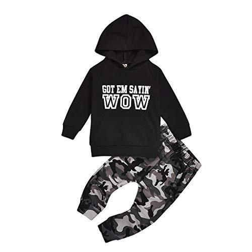 Kinderkleidung 2 stück Set Kleidung Kleinkind feiXIANG Brief drucken Sweatshirt mit Kapuze Tops Hosen Jungen Langarm Outfits (Schwarz 6, 110)
