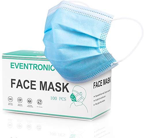 Eventronic Maschera di protezione 100 pezzi Maschera protettiva monouso a tre strati,Maschera di protezione Filtro elastico elastico traspirante e confortevole