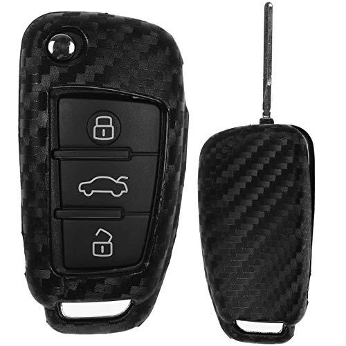 Carbon Soft Case Schutz Hülle Auto Klapp Schlüssel für Audi A1 8X A3 8V A4 B7 A6 C6 TT 8J Q3 8U Q7 4L