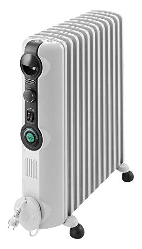De\'Longhi TRRS 1225C Radia S - Radiador, Termostato Ambiente Ajustable, Comfort-Temp, 12 Elementos, Ruedas, Blanco