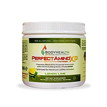 BodyHealth PerfectAmino XP Lemon Lime  30 Servings  Best Pre/Post Workout Recovery Drink 8 Essential Amino Acids Energy Supplement with 50% BCAAs 100% Organic 99% Utilization